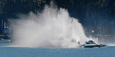 A Hydro Kicks Up A Big Roostertail